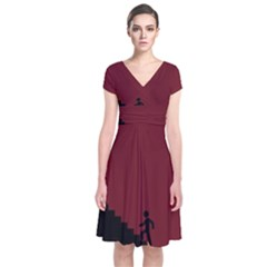 Walking Stairs Steps Person Step Short Sleeve Front Wrap Dress