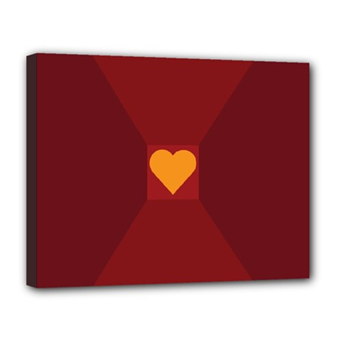 Heart Red Yellow Love Card Design Canvas 14  X 11