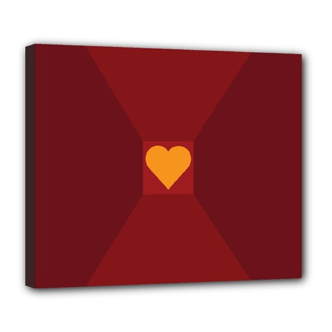 Heart Red Yellow Love Card Design Deluxe Canvas 24  X 20