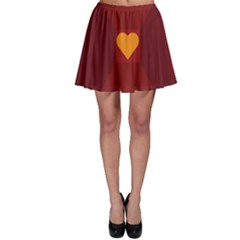 Heart Red Yellow Love Card Design Skater Skirt