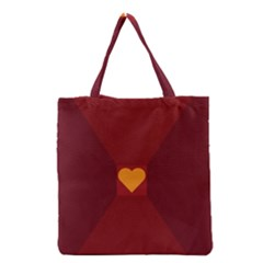 Heart Red Yellow Love Card Design Grocery Tote Bag