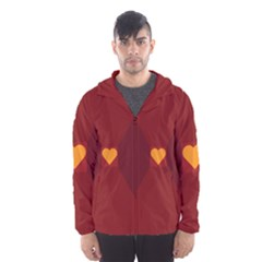 Heart Red Yellow Love Card Design Hooded Wind Breaker (men)