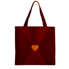 Heart Red Yellow Love Card Design Zipper Grocery Tote Bag
