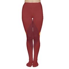 Heart Red Yellow Love Card Design Women s Tights