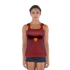 Heart Red Yellow Love Card Design Women s Sport Tank Top
