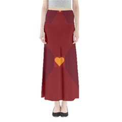Heart Red Yellow Love Card Design Maxi Skirts
