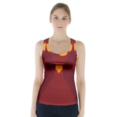 Heart Red Yellow Love Card Design Racer Back Sports Top