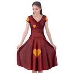 Heart Red Yellow Love Card Design Cap Sleeve Wrap Front Dress