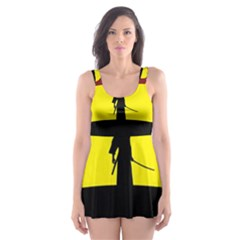 Samurai Warrior Japanese Sword Skater Dress Swimsuit