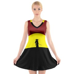 Samurai Warrior Japanese Sword V Neck Sleeveless Skater Dress