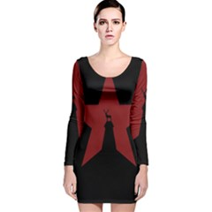 Buck Dear Animal Character Nature Long Sleeve Velvet Bodycon Dress