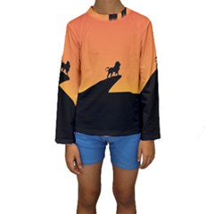 Lion Sunset Wildlife Animals King Kids  Long Sleeve Swimwear