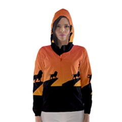 Lion Sunset Wildlife Animals King Hooded Wind Breaker (women)