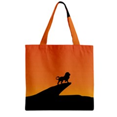 Lion Sunset Wildlife Animals King Zipper Grocery Tote Bag