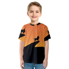 Lion Sunset Wildlife Animals King Kids  Sport Mesh Tee