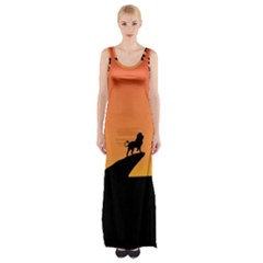 Lion Sunset Wildlife Animals King Maxi Thigh Split Dress