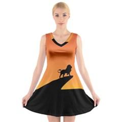 Lion Sunset Wildlife Animals King V Neck Sleeveless Skater Dress