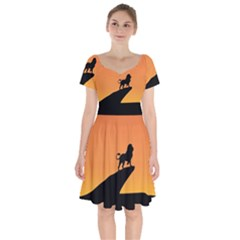 Lion Sunset Wildlife Animals King Short Sleeve Bardot Dress