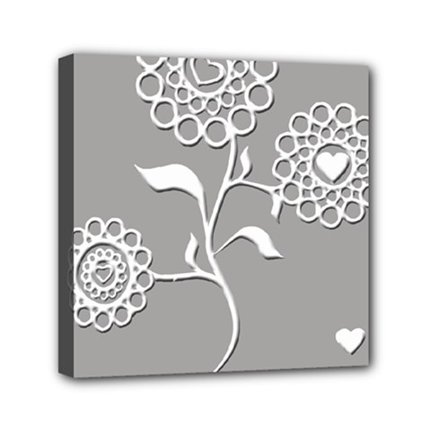Flower Heart Plant Symbol Love Mini Canvas 6  X 6