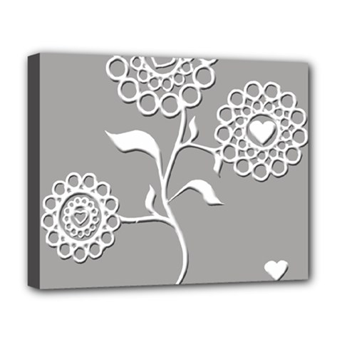 Flower Heart Plant Symbol Love Deluxe Canvas 20  x 16