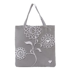 Flower Heart Plant Symbol Love Grocery Tote Bag