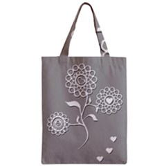Flower Heart Plant Symbol Love Zipper Classic Tote Bag