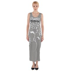 Flower Heart Plant Symbol Love Fitted Maxi Dress