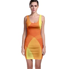 Abstract Orange Yellow Red Color Sleeveless Bodycon Dress