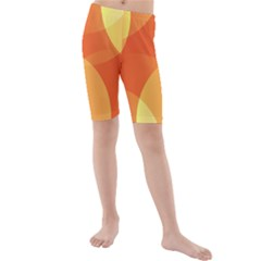 Abstract Orange Yellow Red Color Kids  Mid Length Swim Shorts