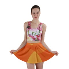 Abstract Orange Yellow Red Color Mini Skirt