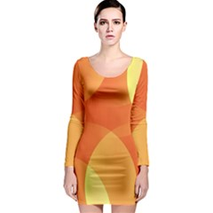 Abstract Orange Yellow Red Color Long Sleeve Bodycon Dress