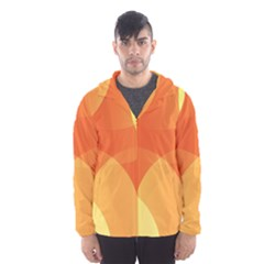 Abstract Orange Yellow Red Color Hooded Wind Breaker (men)