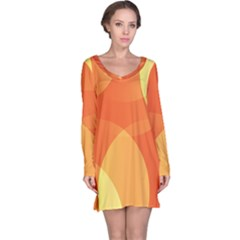 Abstract Orange Yellow Red Color Long Sleeve Nightdress