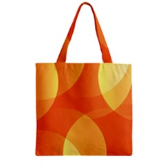 Abstract Orange Yellow Red Color Zipper Grocery Tote Bag
