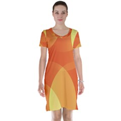 Abstract Orange Yellow Red Color Short Sleeve Nightdress