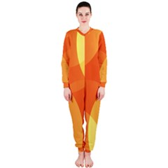 Abstract Orange Yellow Red Color Onepiece Jumpsuit (ladies)