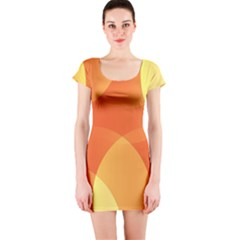 Abstract Orange Yellow Red Color Short Sleeve Bodycon Dress