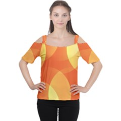 Abstract Orange Yellow Red Color Women s Cutout Shoulder Tee