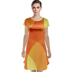 Abstract Orange Yellow Red Color Cap Sleeve Nightdress