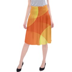 Abstract Orange Yellow Red Color Midi Beach Skirt