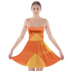 Abstract Orange Yellow Red Color Strapless Bra Top Dress