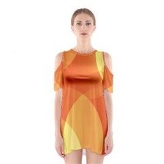 Abstract Orange Yellow Red Color Shoulder Cutout One Piece