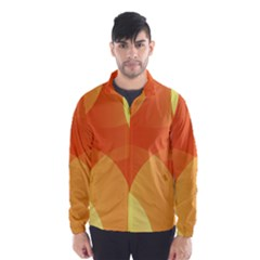 Abstract Orange Yellow Red Color Wind Breaker (Men)