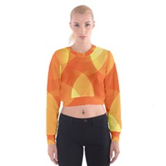 Abstract Orange Yellow Red Color Cropped Sweatshirt