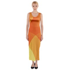 Abstract Orange Yellow Red Color Fitted Maxi Dress