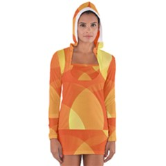 Abstract Orange Yellow Red Color Women s Long Sleeve Hooded T Shirt