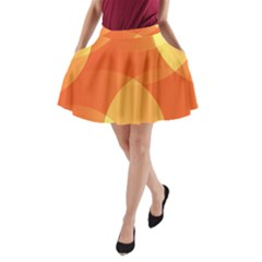 Abstract Orange Yellow Red Color A Line Pocket Skirt