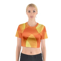 Abstract Orange Yellow Red Color Cotton Crop Top