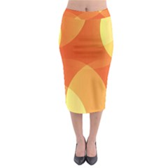 Abstract Orange Yellow Red Color Midi Pencil Skirt