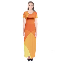 Abstract Orange Yellow Red Color Short Sleeve Maxi Dress